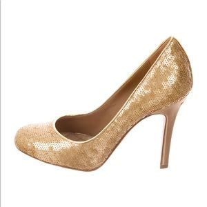 Chanel sequin gold pumps size 5